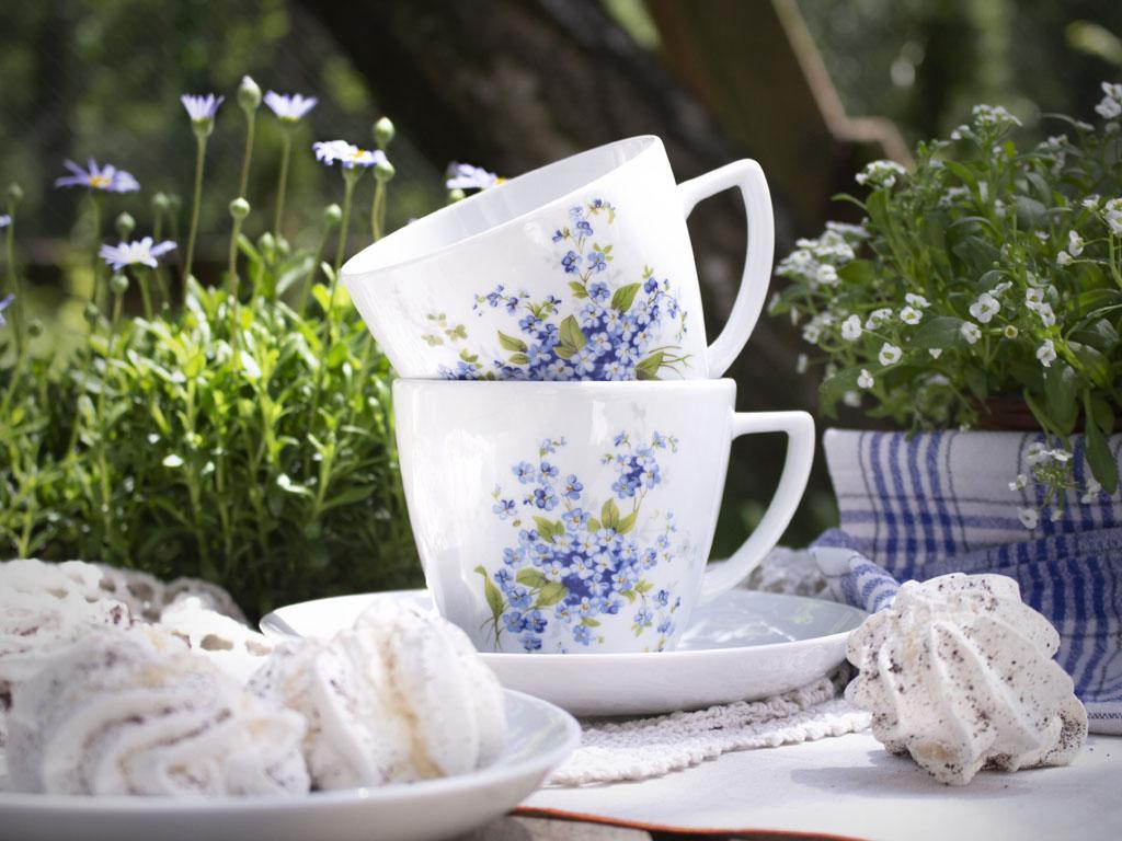 filiżanki z błękitnymi kwiatami na stole w otoczeniu roślin i deserów