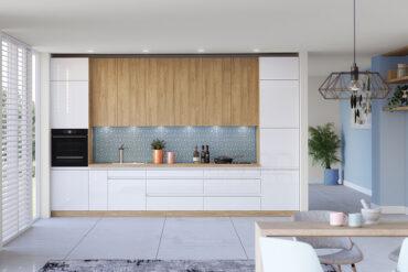 biała kuchnia w połaczeniu z drewnem i błękitem