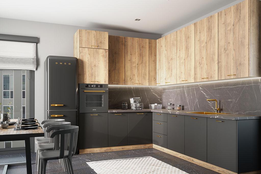 kuchnia z drewnianymi i szarymi frontami ze złotymi detalami