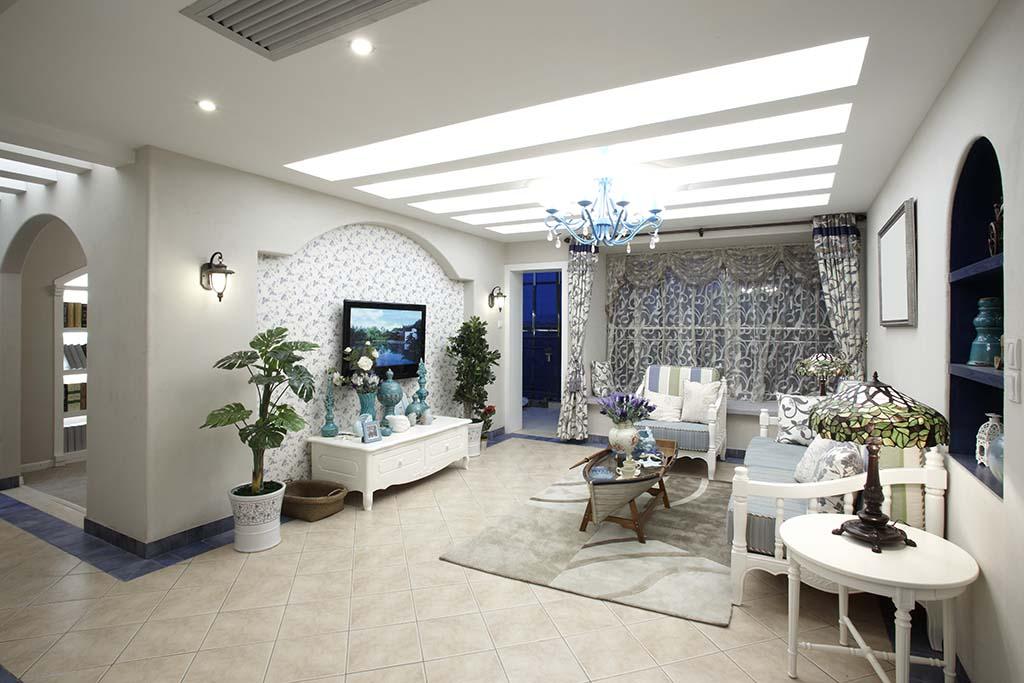 oryginalny wystrój salonu z niebieskimi detalami