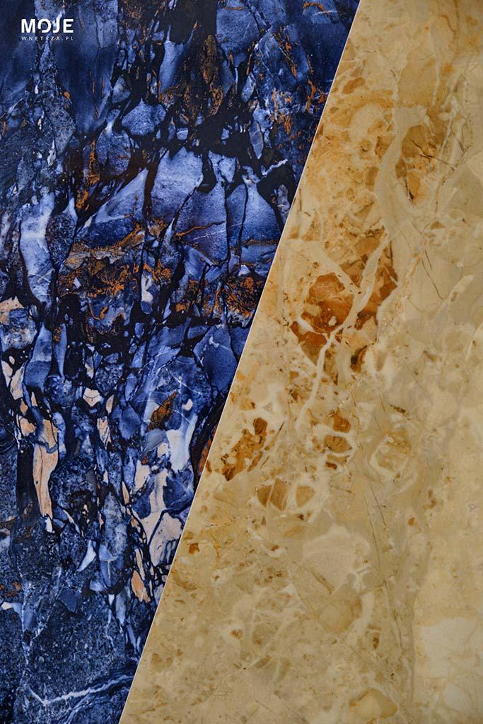 płytka w kolorze piaskowym i niebieskim ułożone po skosie