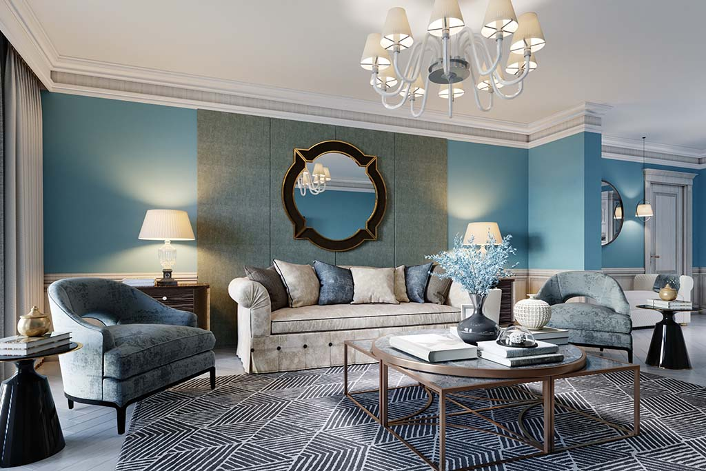 salon w morskich kolorach z dodatkami w różnych wzorach i beżową sofą